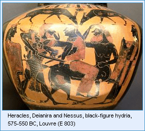 Heracles, Deianira and Nessus, black-figure hydria, 575-550 BC, Louvre (E 803)
