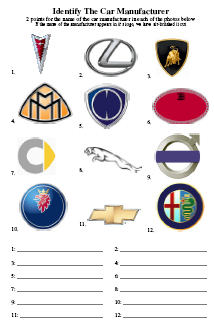 Car Manufacturers Picture Quiz